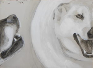 """Megaphone 2 (with cat bites by Boodle), black and white acrylic on paper, 2015, 9 x 12"""", Elizabeth Lisa Petrulis"""