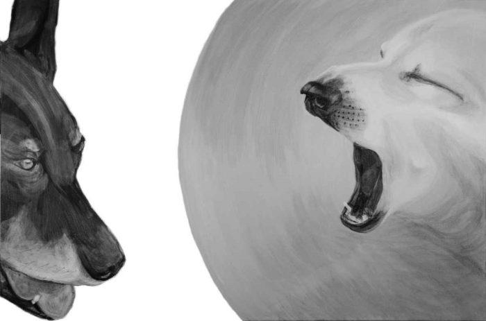 """Megaphone yawn, black and white acrylic on canvas, 2015, 24 x 36"""", Elizabeth Lisa Petrulis"""