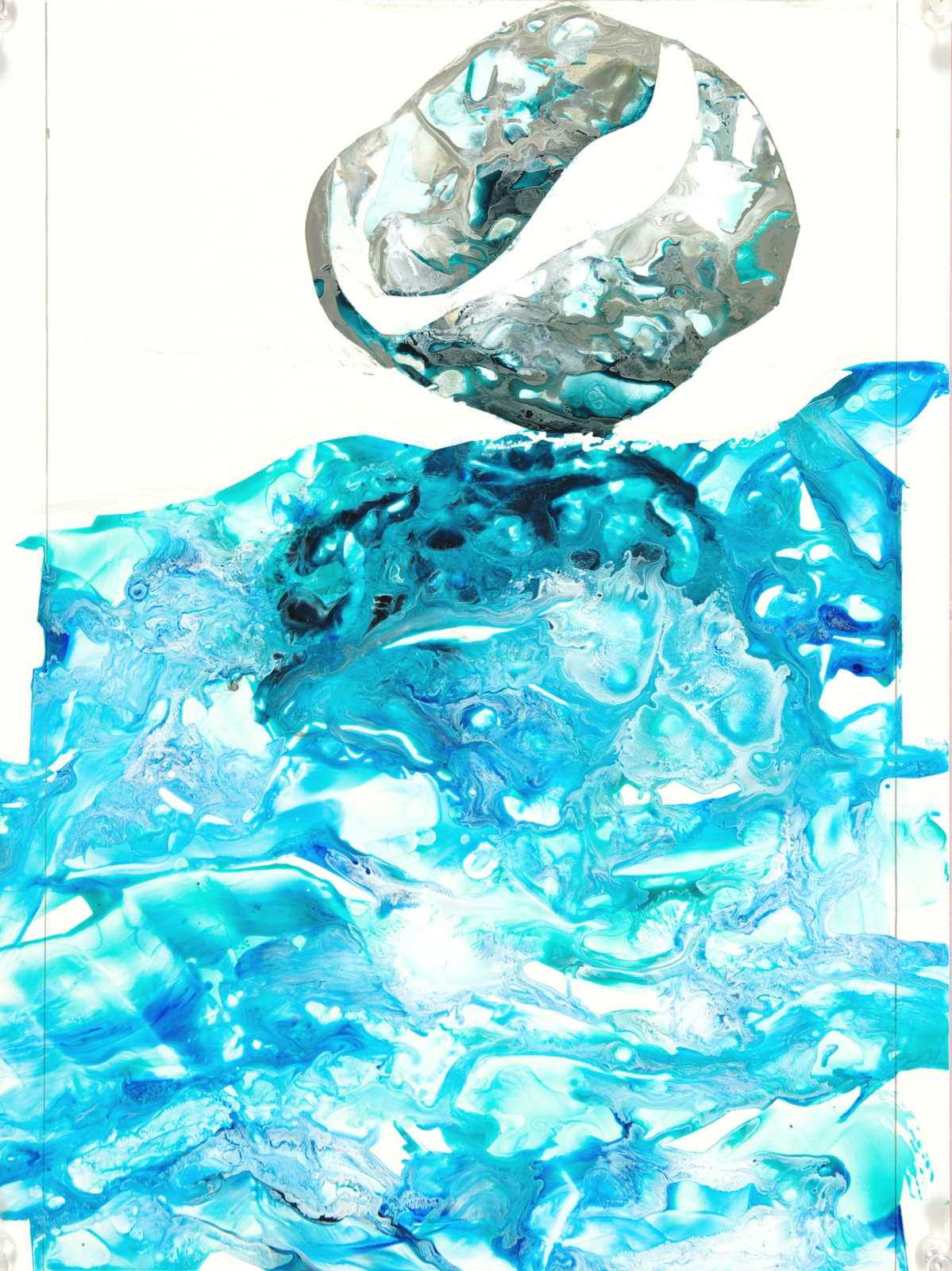 poured paint abstracted water and ball