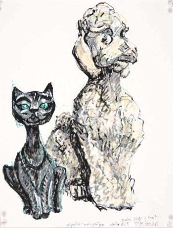 marker drawing of cat and dog figurine banks