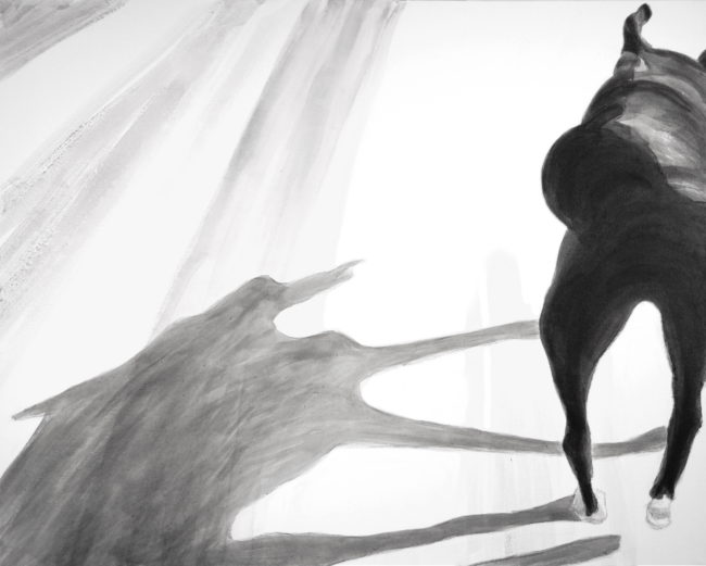 On the road, Dog Studies, high contrast black and white acrylic painting, Elizabeth Lisa Petrulis