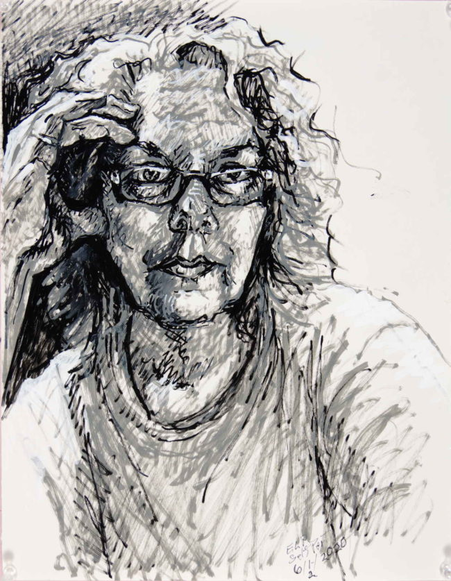 A marker drawing of the artist with glasses and hand up to temple from the front