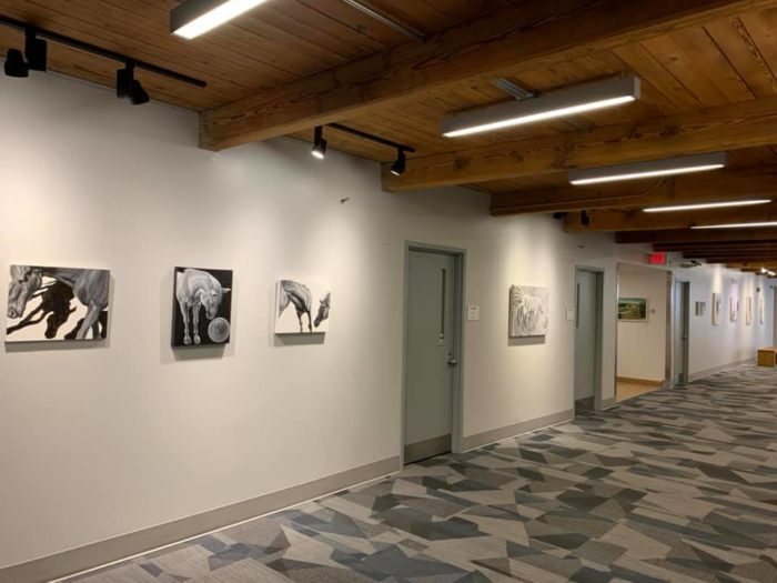horse paintings in the hall at Rose-Hulman