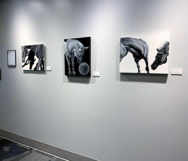 nibble and other horse paintings by elPetrulis installed at Rose-Hulman