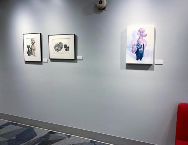 the painting banks with two studies on view at Rose-Hulman