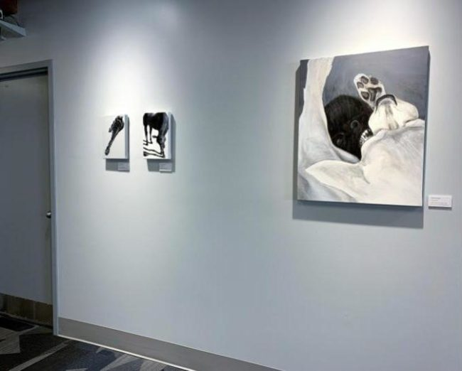Chihuahua Bite and two other paintings by ELPetrulis on display at Rose-Hulman 2020