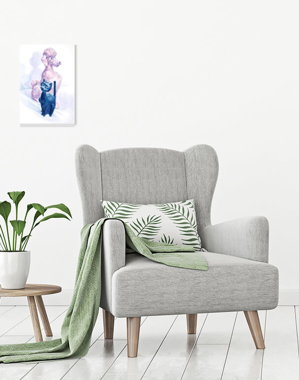 Banks painting above plant and chair