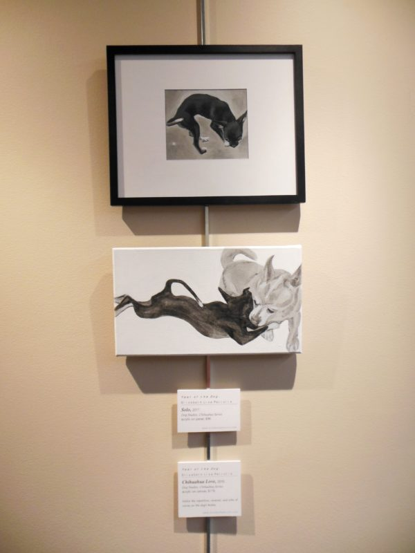 two small chihuahua paintings by ELPetrulis on exhibit at Corporate Square 2018