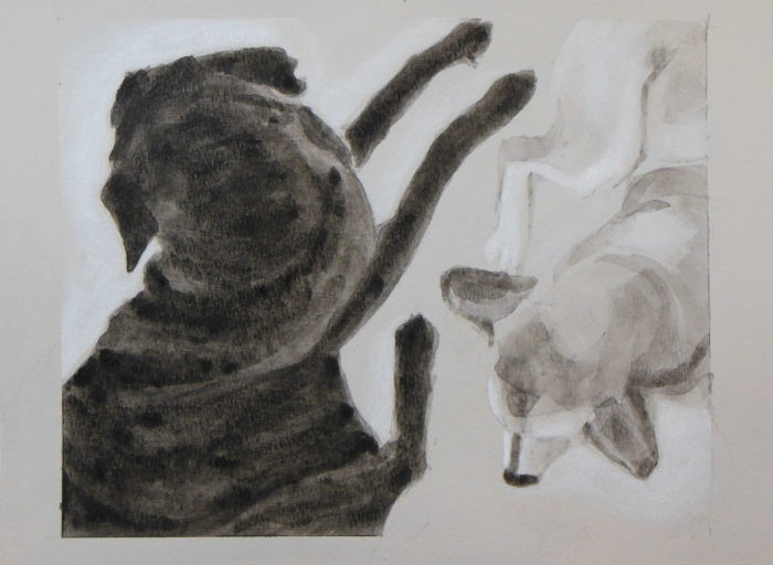 An intimate portrait of two dogs laying with bodies facing each other but each looking away. Black and white acrylic painting by Elizabeth Lisa Petrulis