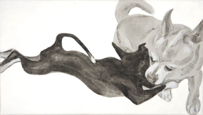 Full body pose of two dogs at right angle to each other. Side view of a sleek black Chihuahua fully stretched on his belly nuzzled into the neck of a larger light colored Chihuahua who faces forward. both tails curl back. a high contrast acrylic painting by Elizabeth Lisa Petrulis