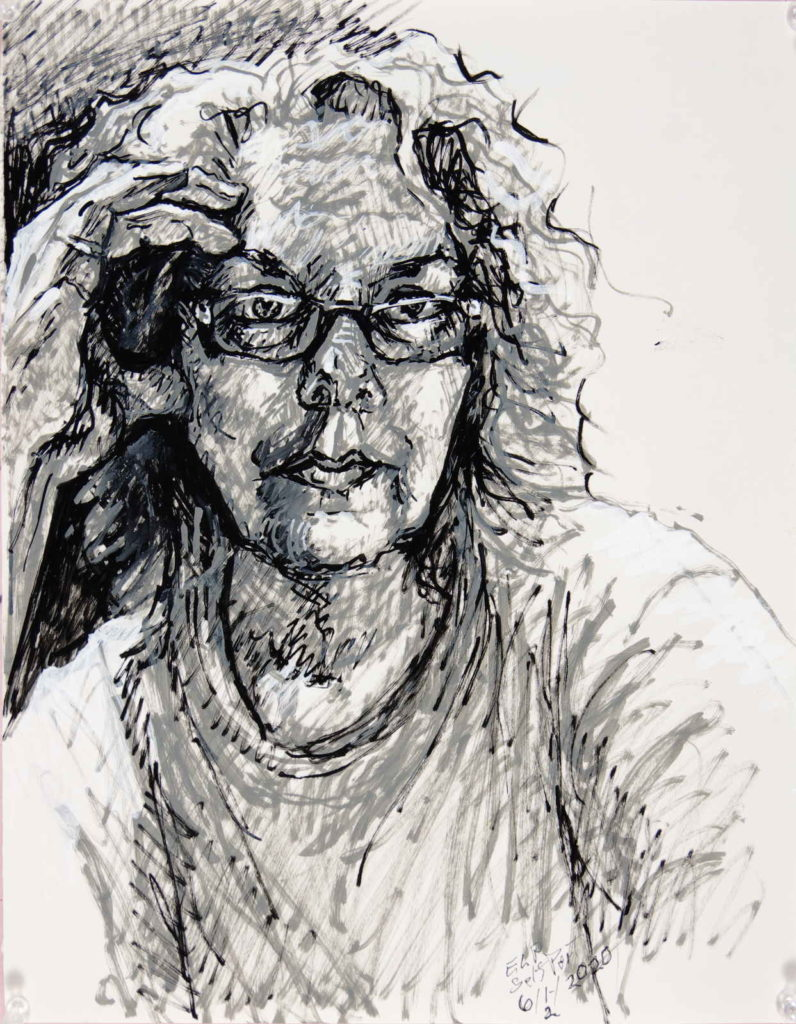 Self portrait  loosely drawn in paint pen markers, 2020, looking strait at you with glasses, hand- thumb and fingers touching side of face and wavy hair.