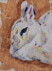 Bunny Study 3, 2021, a small color brushed and knifed acrylic painted rabbit portrait featuring delicate lines with sienna and yellow, by Elizabeth Lisa Petrulis