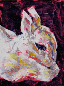 Bunny Study 2, 2021, a small color and knifed acrylic painted rabbit portrait featuring hot pink, by Elizabeth Lisa Petrulis