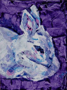 Bunny Study 1, 2021, a small color and knifed acrylic painted rabbit portrait, by Elizabeth Lisa Petrulis