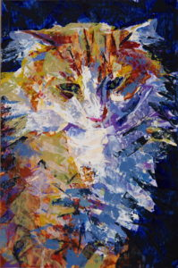Cat with white ruff, an acrylic color and knife painting portrait study, by Elizabeth Lisa Petrulis