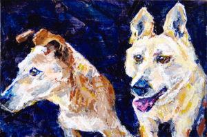 "Ears (2 dogs) knife n color study 1, 2021, acrylic on rag board, 6"" x 9"", Elizabeth Lisa Petrulis"