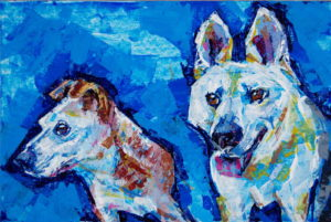 Ears (2dogs) 2, 2021, a double dog portrait study painted in color acrylic with a knife , by Elizabeth Lisa Petrulis