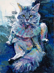 Fluffy cat, 2021, a knife painted portrait of a grooming cat in color acrylics, by Elizabeth Lisa Petrulis
