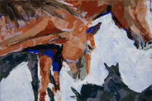 Horse Shadows knife n color study 1, 2021, acrylic on rag board featuring two horses and others' shadows, by Elizabeth Lisa Petrulis