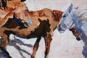 """Horse Shadows knife n color study 2, 2021, acrylic on rag board, 6"""" x 9"""", Elizabeth Lisa Petrulis"""