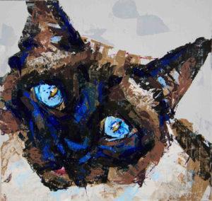 Siamese cat, 2021, a small color knife painted portrait, by Elizabeth Lisa Petrulis