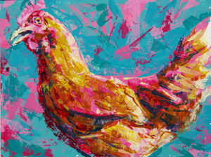 Chicken side view, 2021, a chicken portrait study in knifed color acrylics, by Elizabeth Lisa Petrulis