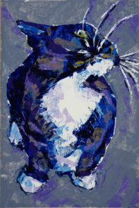 Swirl (cat whiskers), 2021, a color knife painting of a tuxedo cat, by Elizabeth Lisa Petrulis