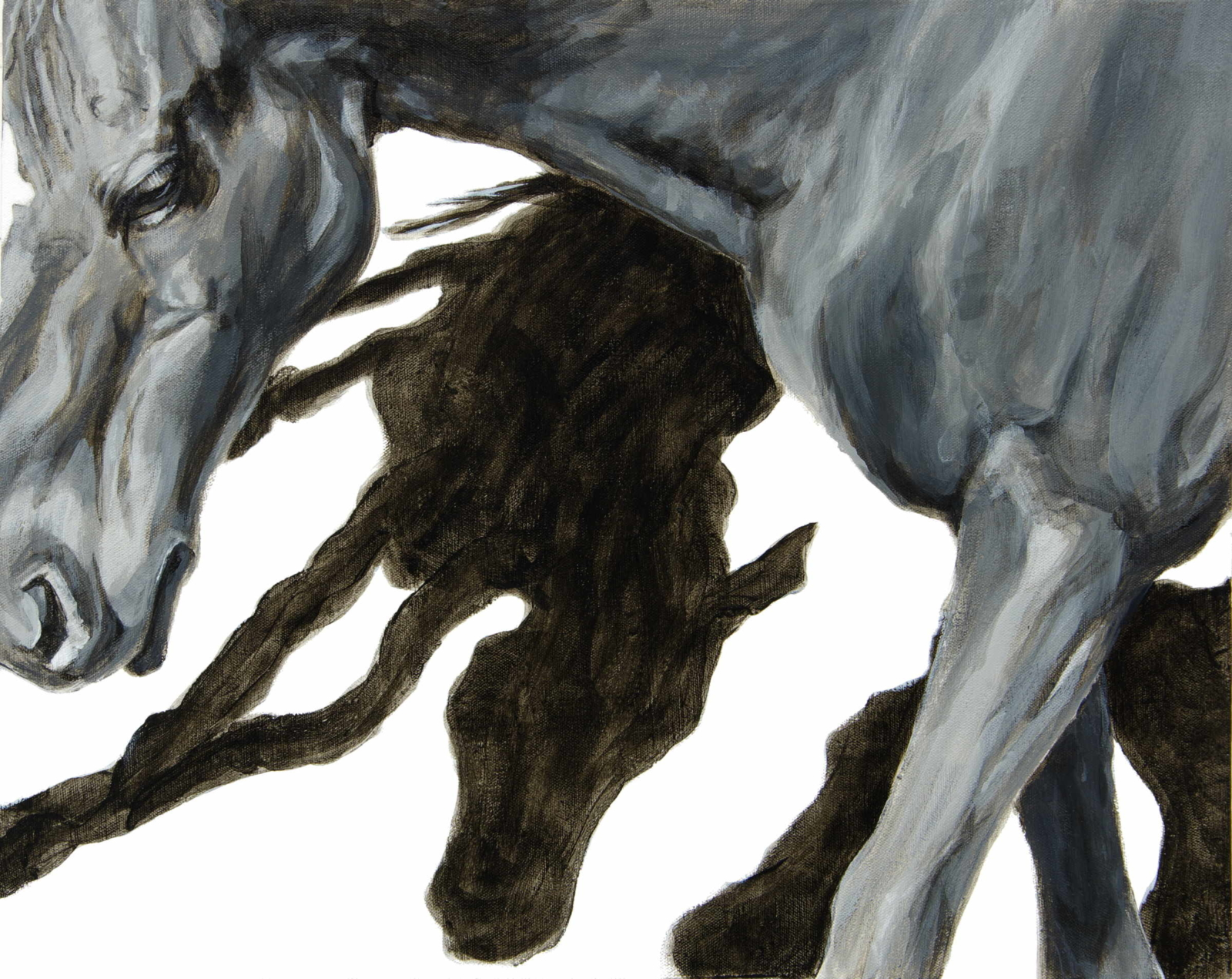 "Horse Shadows, 2019, black and white acrylic on canvas, 16 x 20"", Elizabeth Lisa Petrulis"