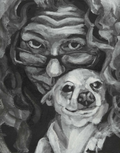 "Me and Chip (Family Portraits), 2017, acrylic on paper, 10"" x 8"", Elizabeth Lisa Petrulis (Ahern Collection, Clearwater, Florida)"
