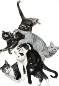 "Cat Pile Up, 2019,black and white acrylic on canvas, 20"" x 14"", Elizabeth Lisa Petrulis Collection of Brian Bunnett, Terre Haute, Indiana"