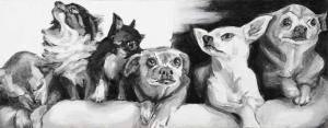 "Chihuahua family, 2017, acrylic on canvas, 8"" x 20"", (Collection of the Aherns of Clearwater, FL)"