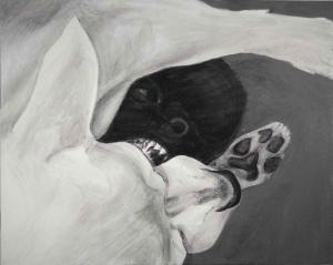"Chihuahua Bite, 2015-2016, Dog Studies, Chihuahua Series, acrylic on canvas, 24"" x 30"", Elizabeth Lisa Petrulis ($540.  available though Arts Illiana outreach gallery at Corporate Square, Terre Haute, IN, call 812-235-5007)"