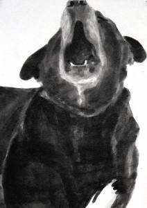"Doug speaks 2, c.2008, Dog Studies, Original Series, black acrylic on prepared paper, 12"" x 9"", Elizabeth Lisa Petrulis"