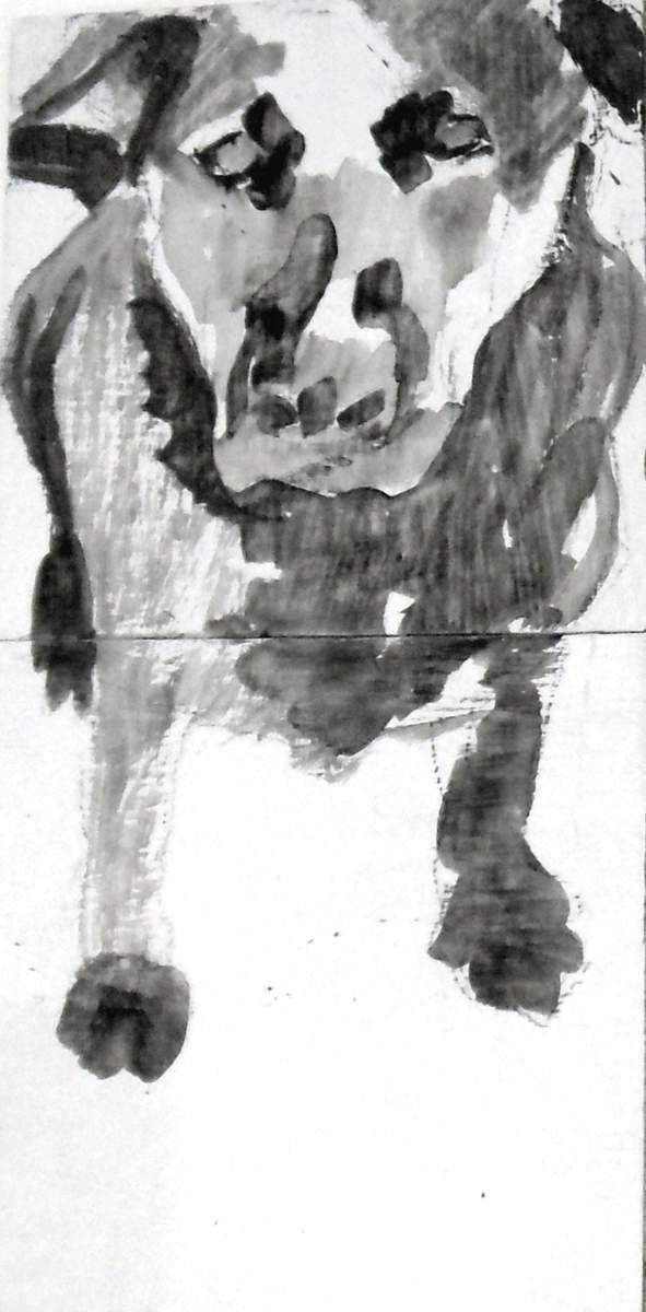 "Mookie Wilson in snow,  2007,  Dog Studies, Original Series, black acrylic on boards,  9"" x 4 ½"", Elizabeth Lisa Petrulis (Private Collection)"