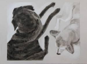 "Away 2, 2015, Dog Studies, Limb Series, acrylic on paper, 9"" x 12"""