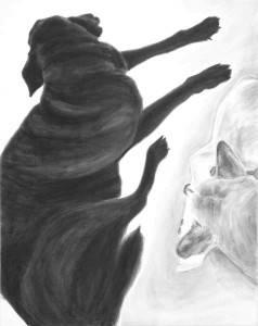 "Away, 2014-15, Dog Studies, Limb Series, acrylic on canvas , 30"" x  24"""