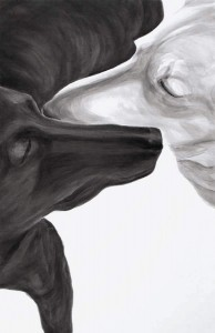 "Brothers, 2013,  Dog Studies, Original Series, black acrylic on prepared canvas, 36"" x 24"", Elizabeth Lisa Petrulis"