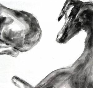 "Curves, 2013,  Dog Studies, Original Series,  black acrylic on board,  6 x 5 5/8"", Elizabeth Lisa Petrulis (Private Collection)"