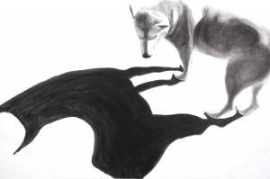 "Dog/Alpaca, 2013,  Dog Studies, Original Series,  black acrylic on canvas,       24"" x 36"", Elizabeth Lisa Petrulis (Private Collection, Columbia, SC)"