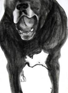 "Doug speaks 1, c.2008, Dog Studies, Original Series,  black acrylic on prepared paper, 12"" x 9"""