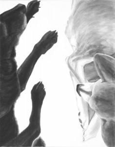 "Limbs, 2014-15, Dog Studies, Limb Series, acrylic on canvas, 30"" x  24"""