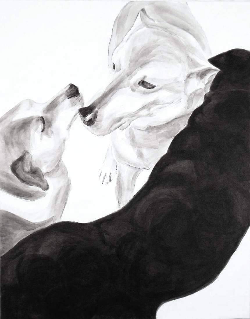 "Round up, 2013-14, Dog Studies, Original Series, black acrylic on canvas, 30"" x 24"", Elizabeth Lisa Petrulis (Private Collection, Terre Haute, IN)"