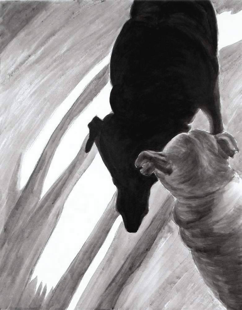 "Shadow Legs, 2013 reworked 2014, Dog Studies, Original Series, black acrylic on canvas, 30 ½"" x 24"", Elizabeth Lisa Petrulis"