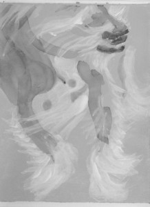 "Study Max Chest grey, 2015, Dog Studies, Max Series, acrylic on paper, 6"" x 4 ½"""