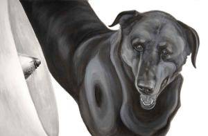 "Megaphone, 2015-2017, Dog Studies, Medical Collar Series, acrylic on canvas, 24"" x 36"", Elizabeth Lisa Petrulis"